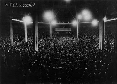 National Socialism Photograph - Large Audience Viewed From The Speakers by Everett