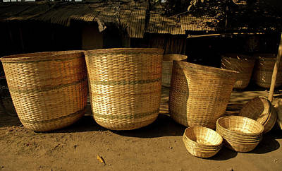 Large Baskets Woven From Cane Art Print by Jaina Mishra