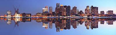 Large Boston City Panorama At Night Art Print by Buzbuzzer