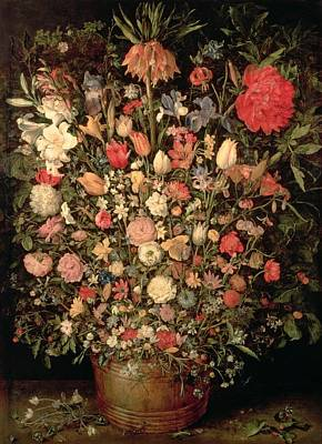 Snowdrops Wall Art - Photograph - Large Bouquet Of Flowers In A Wooden Tub, 1606-07, Oil On Canvas by Jan the Elder Brueghel