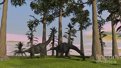 Brachiosaurus Digital Art - Large Brachiosaurus Dinosaurs Grazing by Kostyantyn Ivanyshen