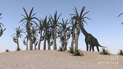 Digital Art - Large Brachiosaurus Grazing On An by Kostyantyn Ivanyshen