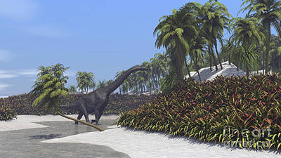 Tree Ferns Digital Art - Large Brachiosaurus Grazing On Tropical by Kostyantyn Ivanyshen