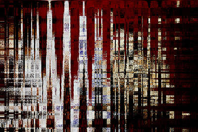 Murky Digital Art - Large City At Night by Suzanne L Kish