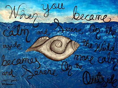 Large Buddha Painting - Large Contemporary Original Painting Featuring Rare Sacred Conch Shell Buddha Quote by Holly Anderson and Pato Aguilar