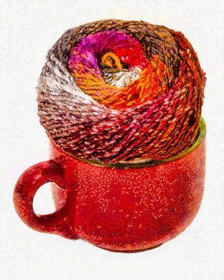 Photograph - Large Cup With Knitting Yarn by Les Palenik