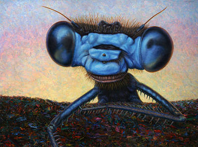 Macro Painting - Large Damselfly by James W Johnson