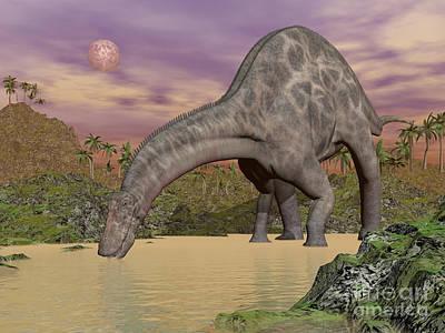 Three Rivers Digital Art - Large Dicraeosaurus Dinosaur Drinking by Elena Duvernay