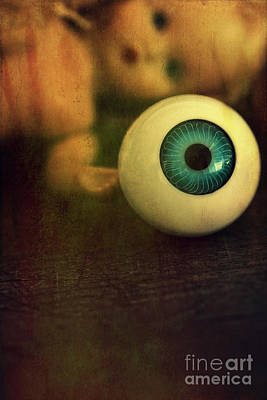 Photograph - Large Eyeball With Doll Face In Background by Sandra Cunningham