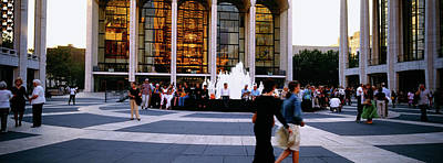 Lincoln Center Photograph - Large Group Of People In Front by Panoramic Images
