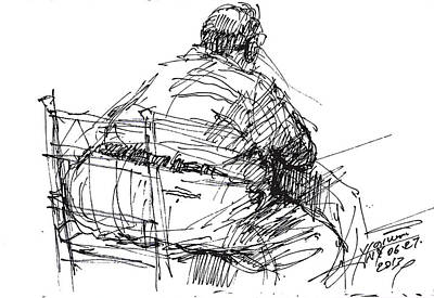 Sketch Drawing - Large Guy by Ylli Haruni