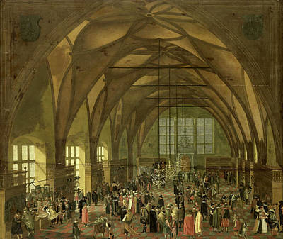 Prague Castle Drawing - Large Hall In The Prague Hradschin Castle by Litz Collection