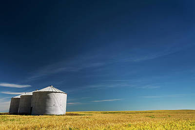 Three Of A Kind Photograph - Large Metal Grain Bins In A Barley by Michael Interisano