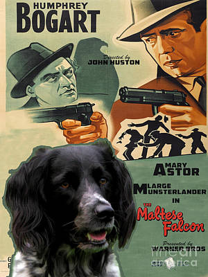 Painting - Large Munsterlander Art Canvas Print - The Maltese Falcon Movie Poster by Sandra Sij
