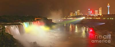 Photograph - Large Niagara Nighttime Panorama by Adam Jewell