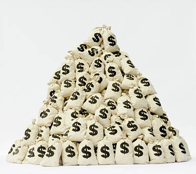 Large Pile Of Money Bags In A Pyramid Art Print by Pm Images