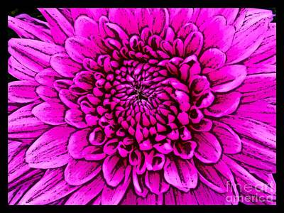 Mixed Media - Large Pink Dahlia Retro Style by Joan-Violet Stretch