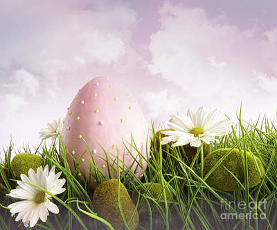 Photograph - Large Pink Easter With Flowers In Tall Grass by Sandra Cunningham