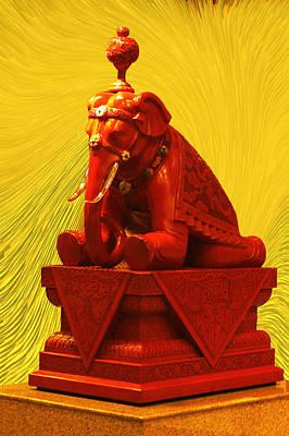 Elephants Digital Art - large Red Stone Elephant by Linda Phelps