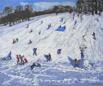 Piste Painting - Large Snowman  Chatsworth by Andrew Macara