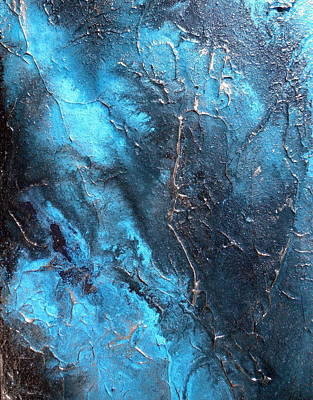 Large Textured Blue And Black Painting Aqua Pura Art Print by Holly Anderson