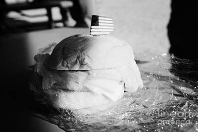 Large Turkey Salad Sandwich Wrapped In Cling Film Usa Art Print by Joe Fox