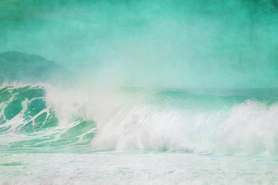 Splashing In The Tide Photograph - Large Waves Off The North Coast Of Oahu by Roberta Murray