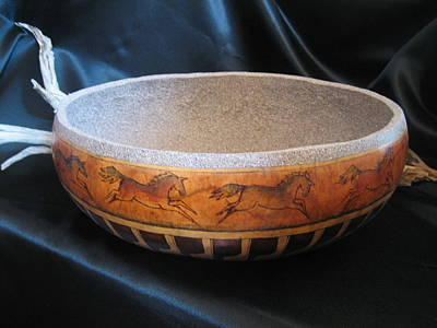 Mixed Media - Large Wild Horse Bowl by Barbara Prestridge