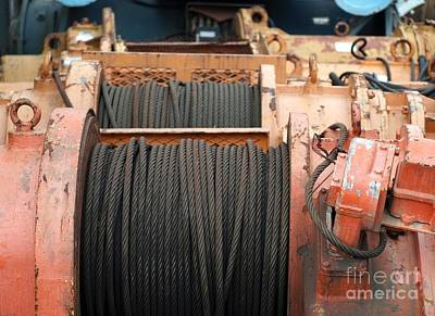 Iron Wire Photograph - Large Winch With Steel Cable by Yali Shi