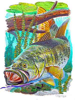 Pickerel Painting - Largemouth Bass by Carey Chen