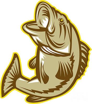 Largemouth Digital Art - Largemouth Bass Fish Jumping Retro by Aloysius Patrimonio