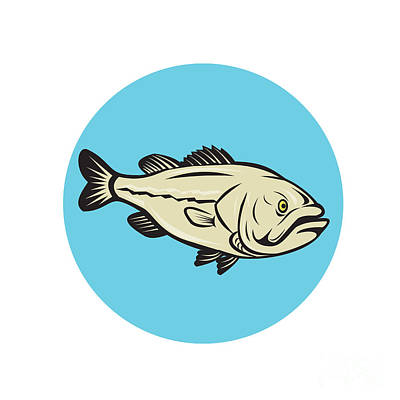 Largemouth Digital Art - Largemouth Bass Fish Side Circle Cartoon by Aloysius Patrimonio