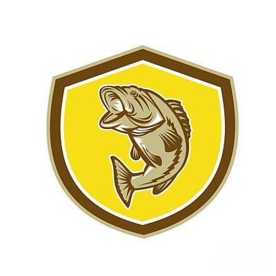 Largemouth Digital Art - Largemouth Bass Jumping Shield Retro by Aloysius Patrimonio