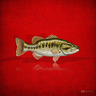Largemouth Bass On Red Leather Original