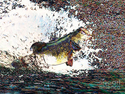 Trout Digital Art - Largemouth Bass P180 by Wingsdomain Art and Photography