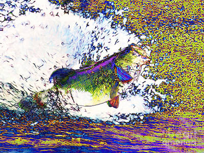 Trout Digital Art - Largemouth Bass P68 by Wingsdomain Art and Photography