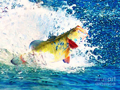 Sea Foods Digital Art - Largemouth Bass - Painterly by Wingsdomain Art and Photography