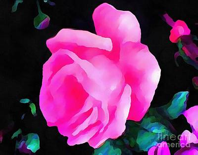 Painting - Tinged Pink Rose Revised by Catherine Lott