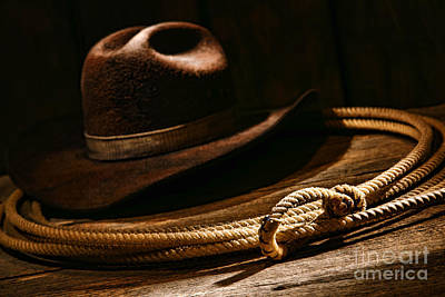 Cowboy Hat Photograph - Lariat And Hat by Olivier Le Queinec