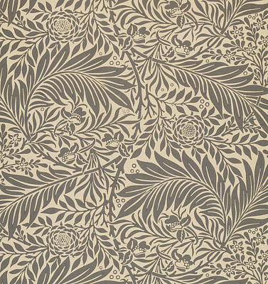 Line Movement Wall Art - Painting - Larkspur Wallpaper Design by William Morris