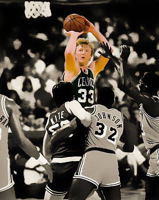 Magic Johnson Digital Art - Larry Bird by Brian Reaves