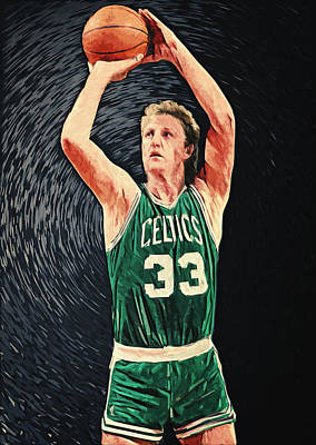 Celtic Digital Art - Larry Bird by Taylan Apukovska