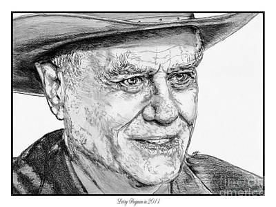 Drawing - Larry Hagman In 2011 by J McCombie