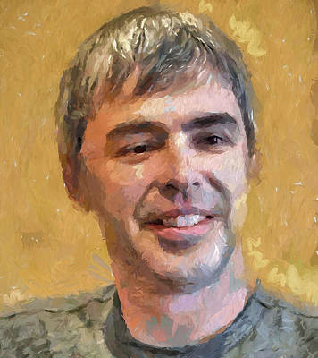 Rich Brown Frame Digital Art - Larry Page Portrait by Yury Malkov