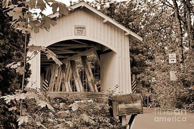 Photograph - Larwood Coverd Bridge Sepia by Ansel Price