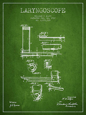 Medical Instrument Digital Art - Laryngoscope Patent From 1937  - Green by Aged Pixel