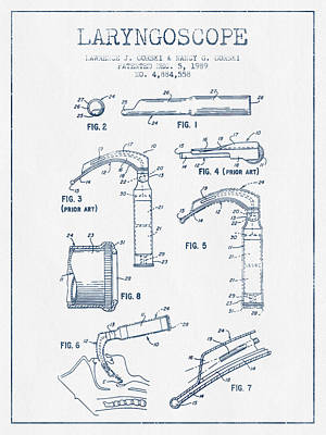 Laryngoscope Patent From 1989  - Blue Ink Art Print by Aged Pixel