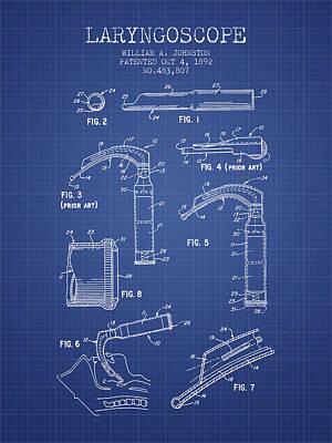 Laryngoscopy Patent From 1964 - Blueprint Art Print by Aged Pixel