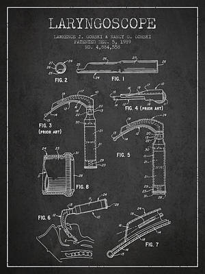 Laryngoscope Patent From 1989 - Dark Art Print