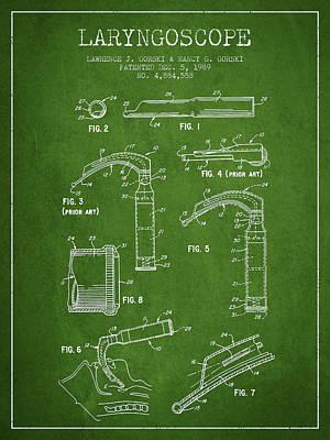 Laryngoscope Patent From 1989 - Green Art Print